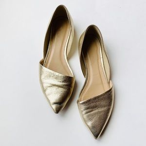 J. Crew | Gold Metallic Pointed Toe Flats